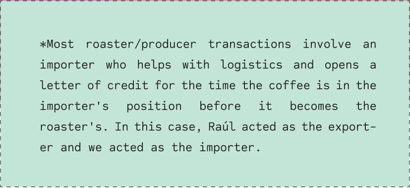 *Most roaster/producer transactions involve an importer who helps with logistics and opens a letter of credit for the time the coffee is in the importer's position before it becomes the roaster's. In this case, Raúl acted as the exporter and we acted as the importer.